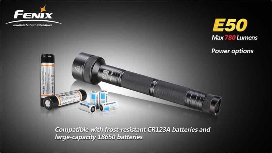 Fenix E50 совместим с морозоустойчивыми литиевыми батареями и литий-ионными аккумуляторами