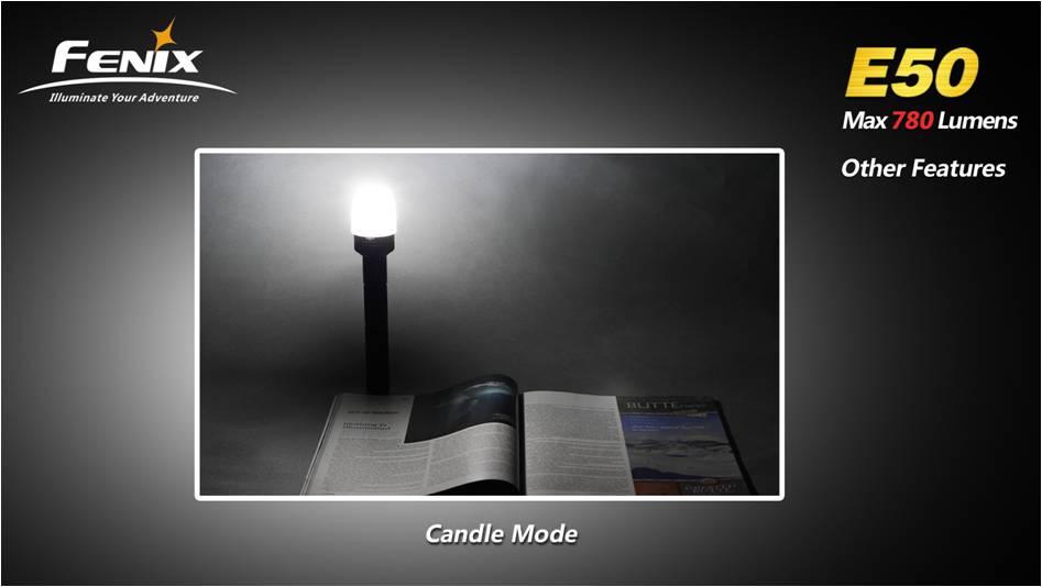 возможность использования фонаря Fenix E50 в качестве свечи