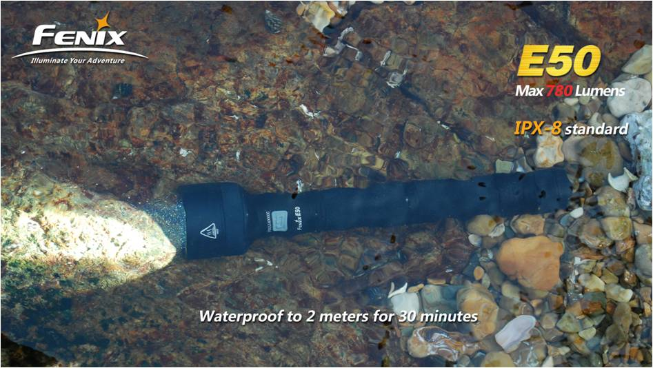 водонепроницаемость фонаря Fenix E50 до 2 метров на 30 минут