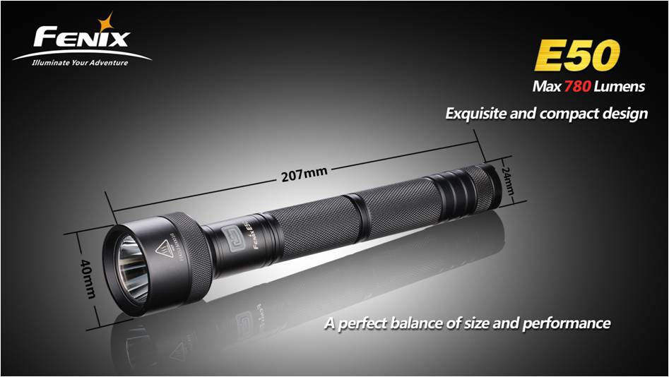 харизматический дизайн фонаря Fenix E50