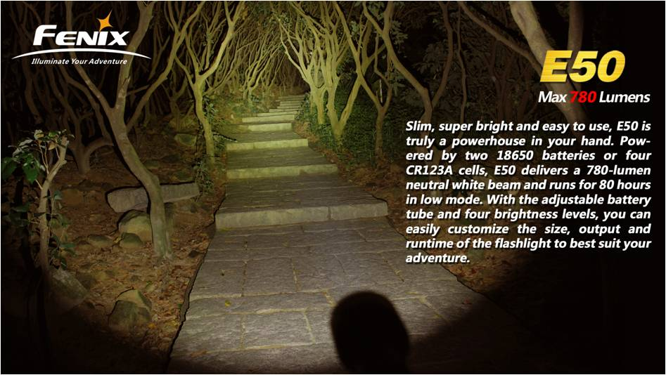 максимальная яркость фонаря Fenix E50 - 780 люмен