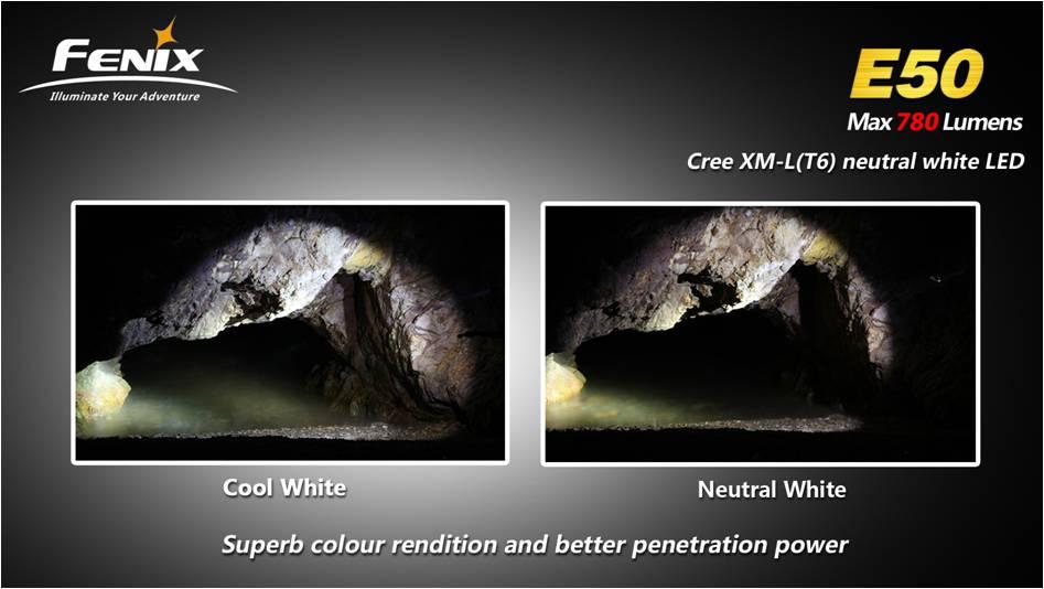 Fenix E50 имеет нейтральный белый светодиод и отличную цветопередачу