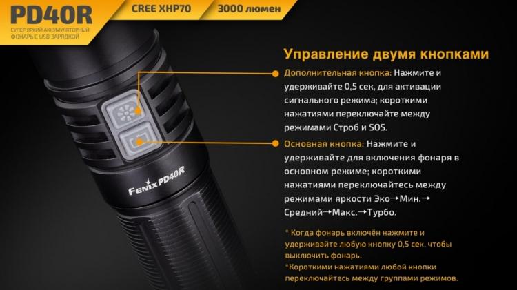 Фонарь Fenix PD40R (XPH70, ANSI 3000 лм, 26650)